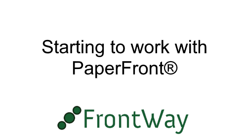 Starting to work with PaperFront